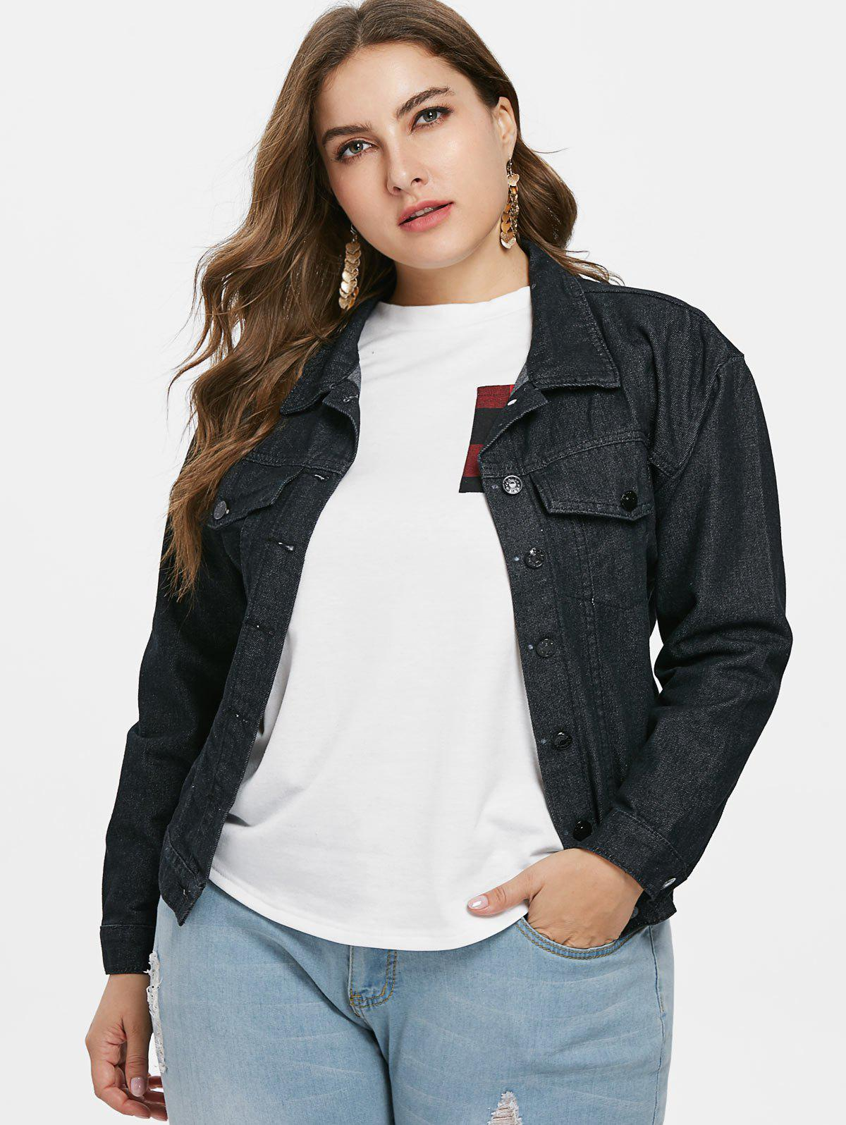 65f96015426 2019 Embroidered Plus Size Jean Jacket