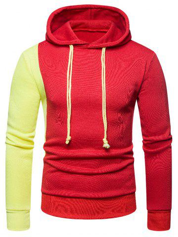 Contrast Color Long Sleeve Pullover Hoodie - RED - 2XL