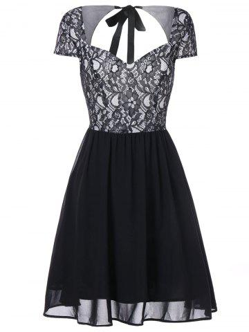 Lace Insert Open Back Flare Dress