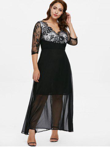 Plus Size Eyelash Lace Trim Prom Dress