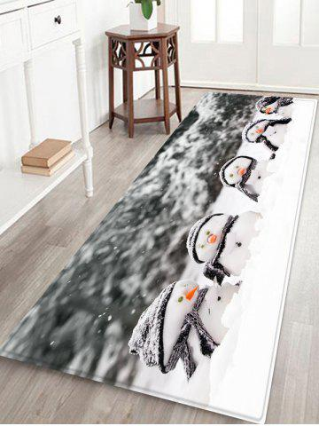 Christmas Snowman Brother Printed Non-slip Flannel Floor Rug - GRAY - W16 X L47 INCH