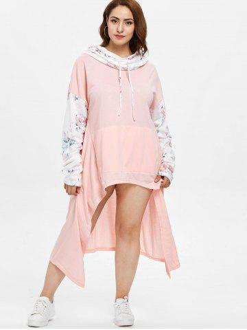 Floral Long Sleeve Plus Size Drawstring Asymmetrical Dress