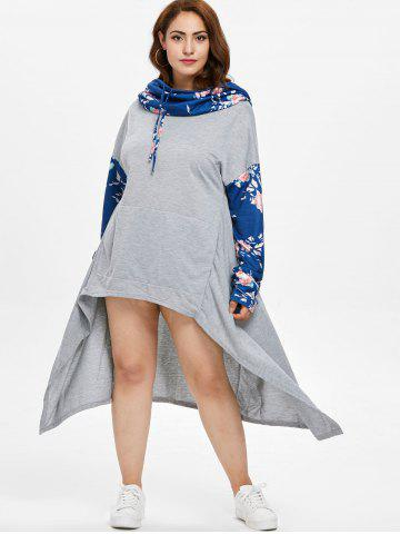 Floral Print Sleeve Plus Size Drawstring High Low Dress