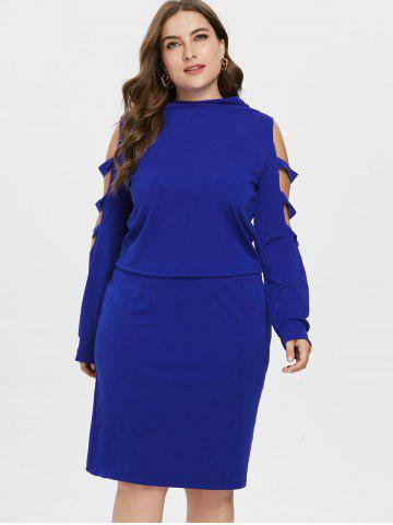 Plus Size Ripped Long Sleeve Top with Skirt