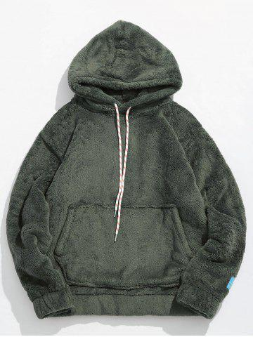 Pouch Pocket Patch Detail Fluffy Hoodie