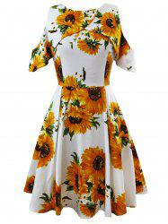Cold Shoulder Sunflower Print Vintage Dress -