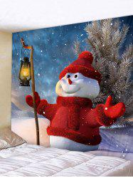 Christmas Snowman Light Printed Wall Tapestry Art Decoration -