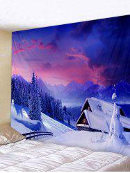 Christmas Snow Cottage Printed Wall Tapestry Art Decoration -