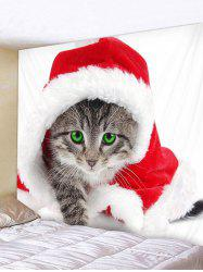 Christmas Cat Printed Wall Tapestry Art Decoration -