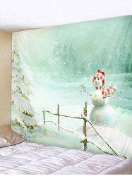 Christmas Snowman Print Wall Tapestry Art Decoration -