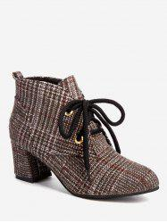 Chunky Heel Houndstooth Short Boots -