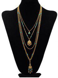 Stylish Multilayers Faux Turquoise Pendant Necklace -