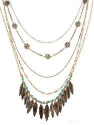 Bohemian Alloy Leaves Faux Turquoise Necklace -