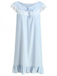 Flounce Lace Insert Bowknot Sleeping Dress -