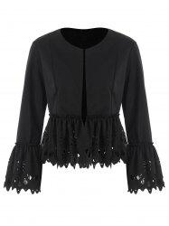 Bell Sleeve Laser Cut Peplum Jacket -