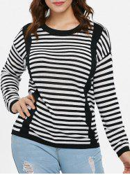 Plus Size Color Block Striped Sweater -
