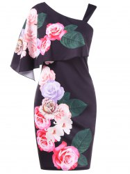 Cold Shoulder Floral Foldover Dress -
