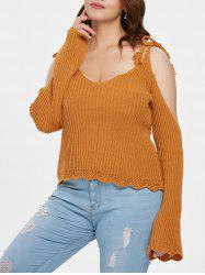 Plus Size Ribbed Tie Shoulder Sweater -