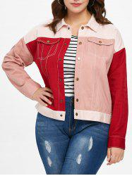 Plus Size Double Pocket Patchwork Jacket -