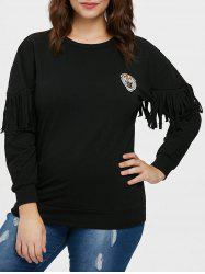Sweat-shirt Tigre Patch Frangé de Grande Taille -