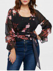 Plus Size Floral Wrap Blouse -
