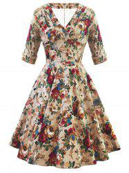 Retro V Neck Floral High Waist Dress -