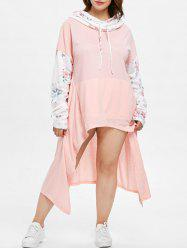 Floral Long Sleeve Plus Size Drawstring Asymmetrical Dress -