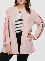 Plus Size Drawstring Waist Tunic Coat -