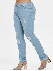 Plus Size Ripped Frayed Hem Jeans -