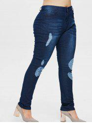 Plus Size Torn Five Pocket Jeans -
