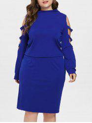Plus Size Ripped Long Sleeve Top with Skirt -