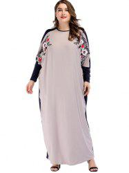 Plus Size Batwing Sleeve Maxi Embroidered Dress -