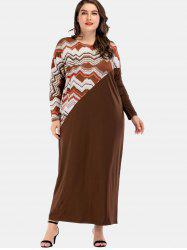 Plus Size Wave Print Maxi Dress -