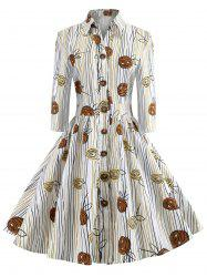 Vintage Floral Print Button Detail A Line Dress -