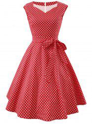 Vintage Dotted Fit and Flare Dress -