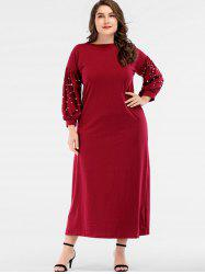 Plus Size Faux Pearls Puff Sleeve Maxi Dress -