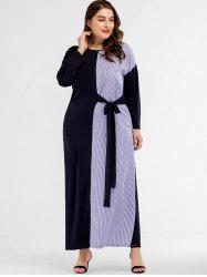 Vertical Stripe Plus Size Long Sleeve Dress -
