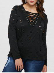 Ripped Plus Size Lace Up T-shirt -