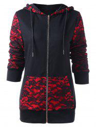 Roses Lace Insert Zip Up Hoodie -
