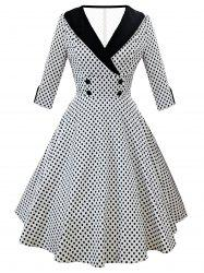 Retro Shawl Collar Dotted High Waist Dress -