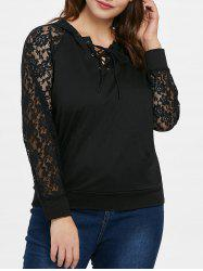 Plus Size Lace Up Lace Panel Hoodie -