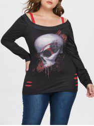 Ripped Plus Size Skull Pattern T-shirt -