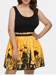 Plus Size Halloween Open Back Sleeveless Dress -