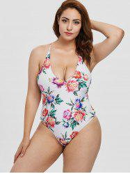 Plus Size Floral Criss Cross Swimsuit -