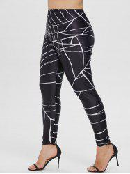 Elastic Waist Plus Size Spider Web Leggings -