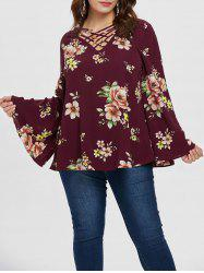 Plus Size Criss Cross Floral Blouse -