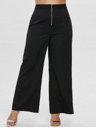 Plus Size Front Zip Wide Leg Pants -