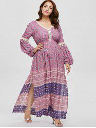 Plus Size Maxi Printed Bohemian Dress -