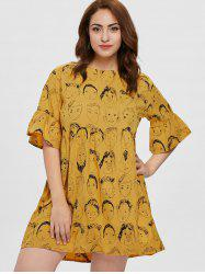 Plus Size Cartoon Faces Print Dress -