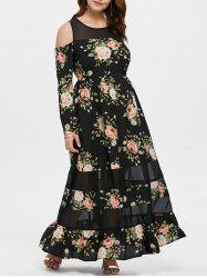 Plus Size Floral Long Sleeve Maxi Dress -
